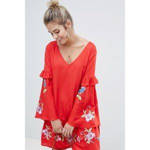 ASOS ULTIMATE Red Mini Embroidered Smock Dress